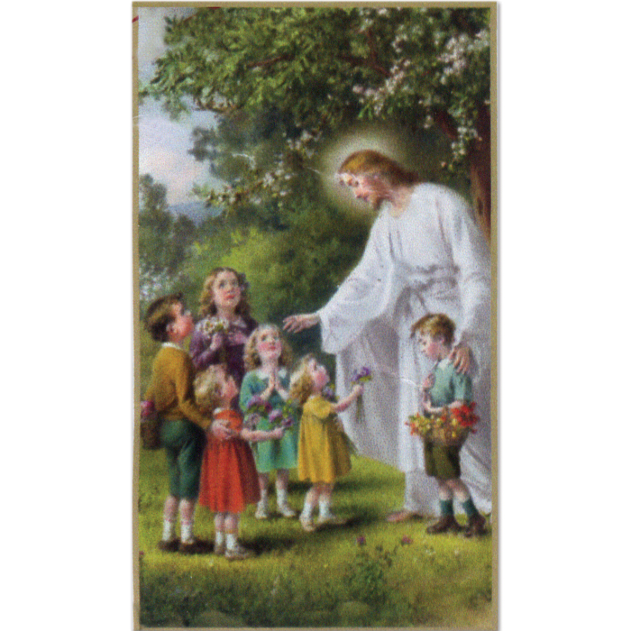 Christ with Chldren 8-UP Holy Card