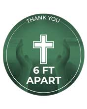 Green Cross Design 6 Ft. Apart Floor Decal