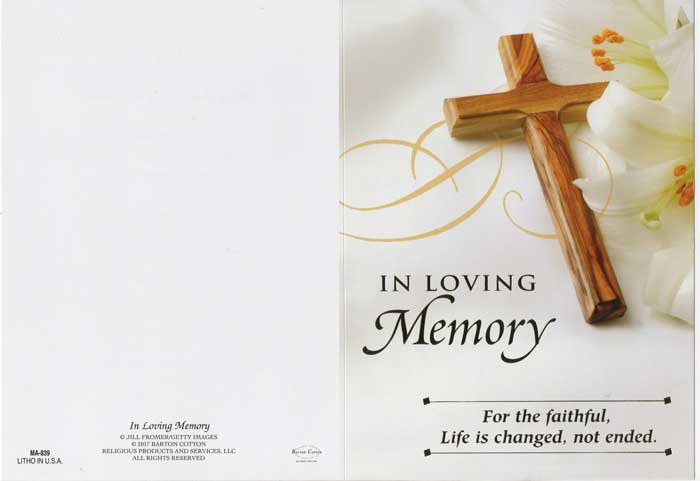 In Loving Memory Mass Card of the Deceased
