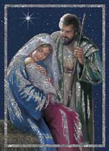 Holy Family Glitter Embossed Christmas Card