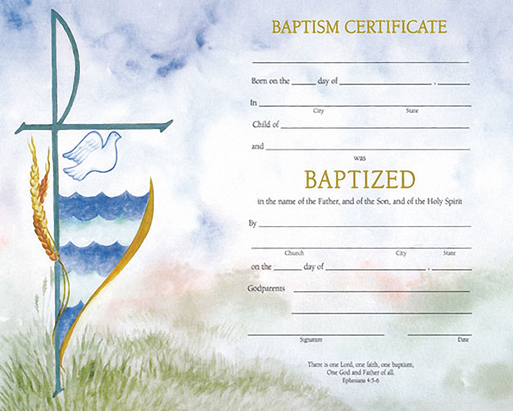 Baptismal Certificate With Envelopes 07 0102 Tonini Church Supply