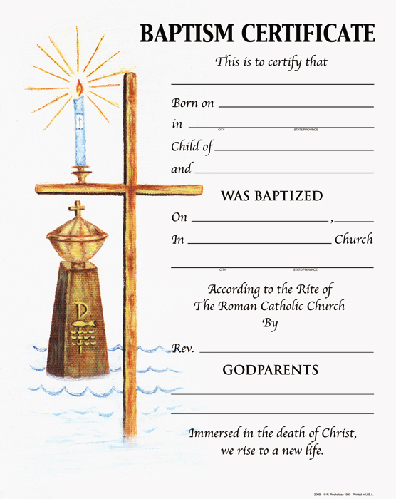 Baptism: Certificates - Page 1 Of 2