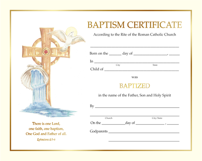 Baptism Certificates  Page  Of