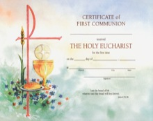 Watercolored First Communion Certificate