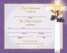 First Communion Certificate with Envelope