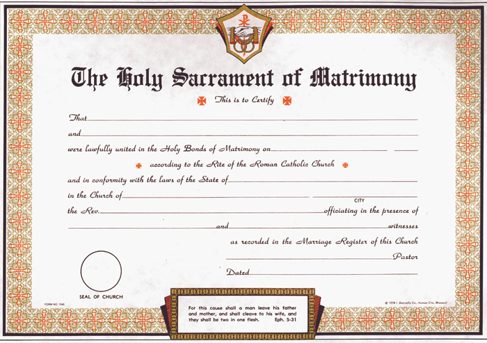 Marriage Certificate Pad  Tonini Church Supply