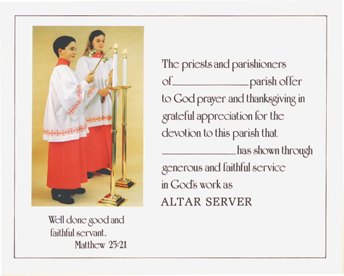 Altar server certificate 07 4046 xx tonini church supply 07 4046 xx yadclub Gallery