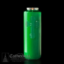 Green 6 Day Glass Devotional Candle