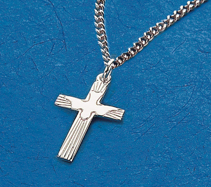 Sterling Silver Cross Holy Spirit Pendant 18 Chain