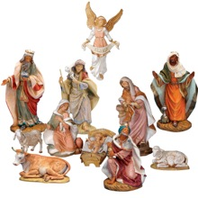 12 Figure Full Color Nativity Set