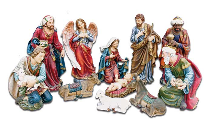 11 Figure Full Color Indoor Nativity Set