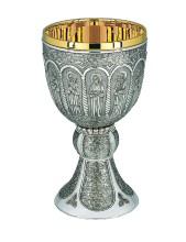 Silver Plated 12 Apostles Chalice with Paten