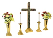 Cross of Salvation Brass and Marble Altar Set