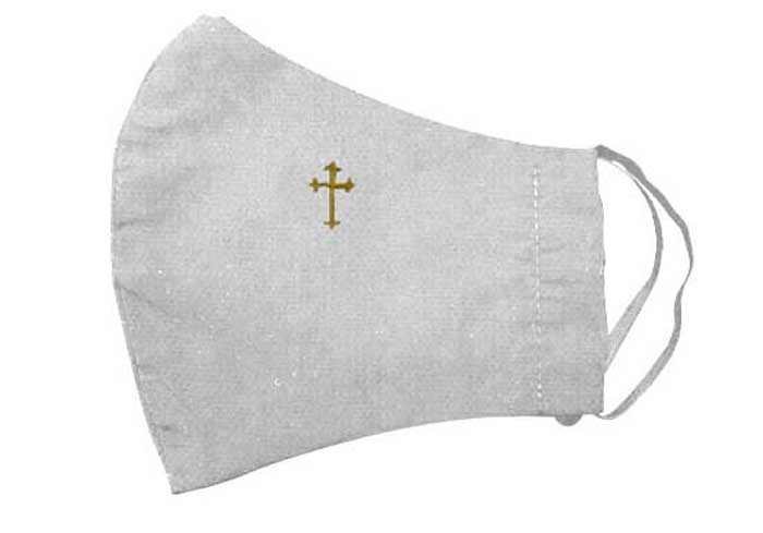 White Budded Cross Embroidered Face Mask
