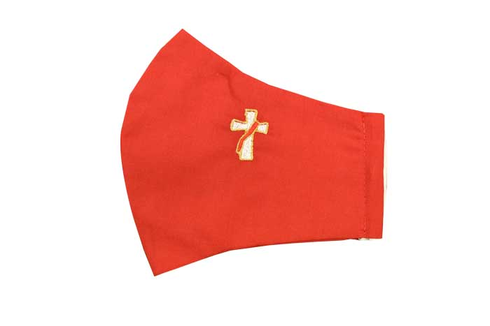 Red Deacon Cross Liturgical Face Mask